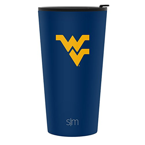 Simple Modern 16oz Pint Tumbler - West Virginia Mountaineers Vacuum Insulated 18/8 Stainless Steel Tailgating Cup Travel Mug - West Virginia