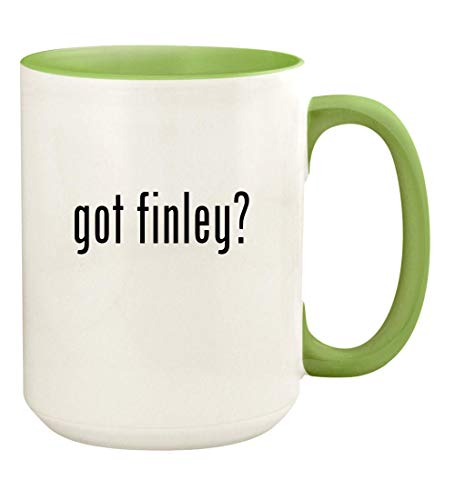 got finley? - 15oz Ceramic Colored Handle and Inside Coffee Mug Cup, Light Green