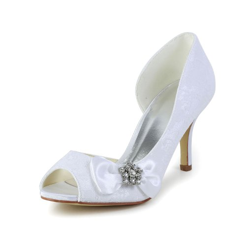 Weiß Ferse JIA Mittlere Hochzeitsschuhe 83901 Strass Damen Toe JIA Satin Pumps Brautschuhe Bowknot Peep wrqO0U6w