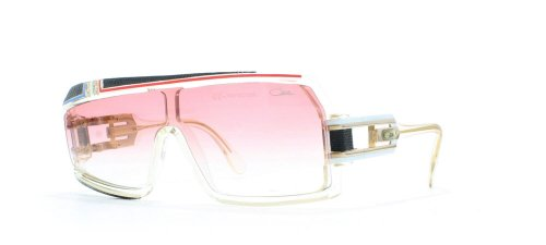 Cazal 858 Dlx 252 Clear and Black and Red and Blue Authentic Men - Women Vintage - Cazal Sunglasses Clear