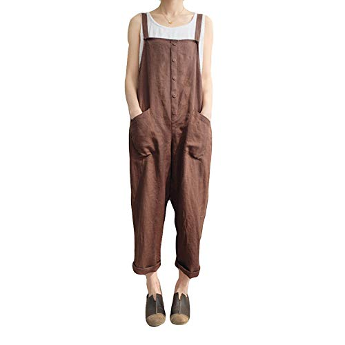 - Women's Strappy Jumpsuits Overalls Baggy Bib Pants Casual Plus Size Wide Leg Rompers (L, Brown)