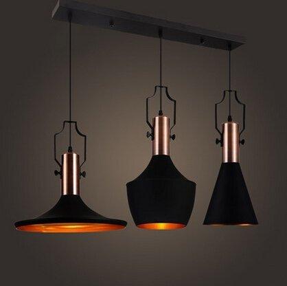 MSTAR Industrial 3 Light Kitchen Island Pendant Light Fixture Black Metal  E26 Hanging Ceiling Light Fixture