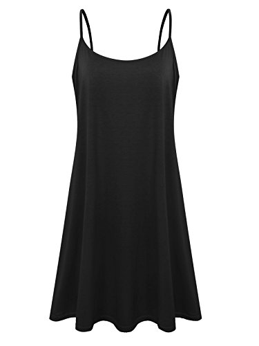 Plus Size Women's Casual Spaghetti Loose Swing Slip Summer Dress Sundress (Black,5X)