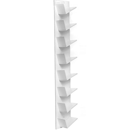Mewalker 8 Compact Tree Bookshelf Bookrack Bookcase | Display Storage Furniture for CDs, Movies & Books (US Stock) (White) (Dvd 200 Rack Storage)