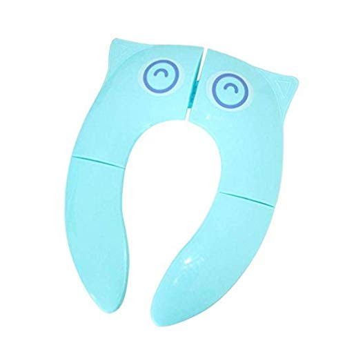 Folding Large Non Slip Silicone Pads Travel Portable Reusable Toilet Potty Training Seat Covers Liners for Babies (Big eye blue)