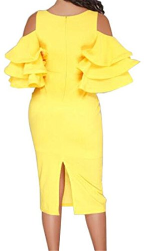 Deep Fit Cromoncent Clubwear Sleeve Dress Yellow Neck Womens Bodycon Slim Party Short V Falbala qafqtABwx
