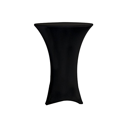 (Red Spot Pro 30 Inch Round Cocktail Table Spandex Fitted Stretch Black Tablecloth Cover)