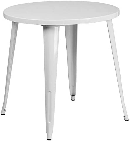 picture of Flash Furniture 30'' Round White Metal Indoor-Outdoor Table