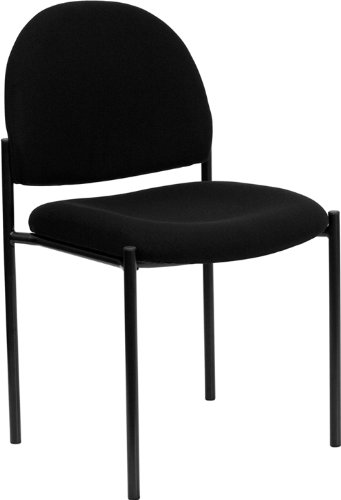 Flash Furniture Comfort Black Fabric Stackable Steel Side Reception Chair by Flash Furniture