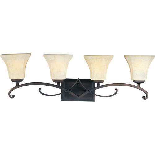 Maxim Lighting Oak Harbor Rustic Burnished 4-Light Vanity Light 21074FLRB ()