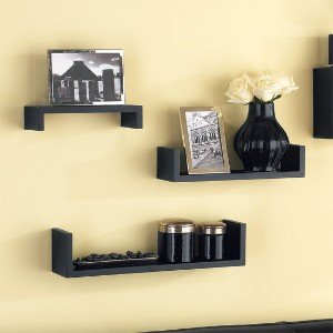 Home Sparkle Set of 3 Wall Shelves MDF  Black