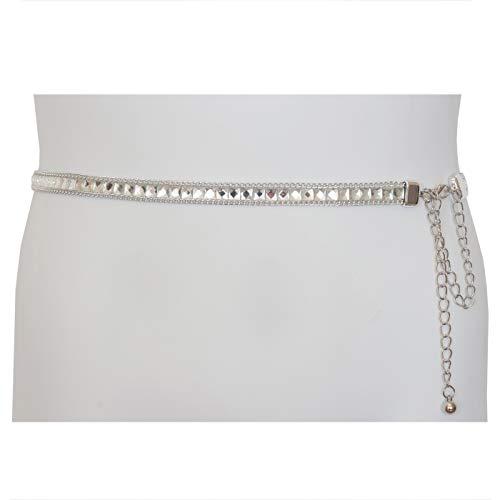 - eVogues Plus Size Rhinestone Chain Belt Silver - One Size Plus