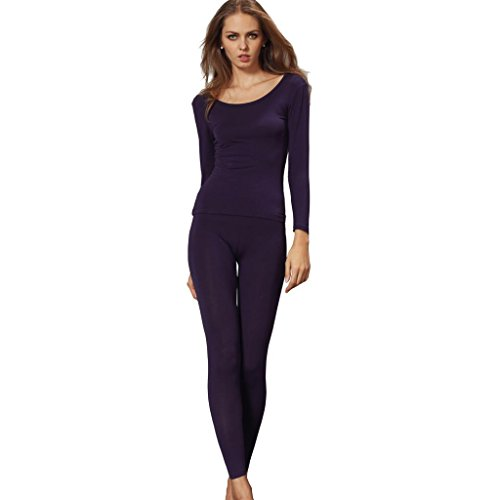 Liang Rou Women's Crewneck Long Johns Ultra Thin Thermal Underwear Set Purple - Thermal Purple