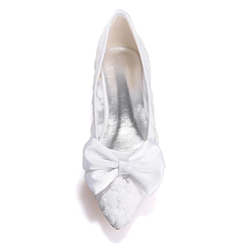White New Elobaby 35 0 Heel Lady Sposa da da 42 42 6cm Party Size Scarpe D'Onore Handmade Damigelle Dress Donna Lace wHqHXCWr