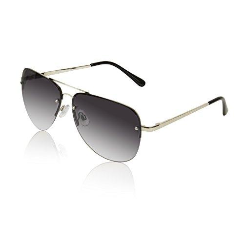 (Huge Large Womens Sunglasses Aviators Teen Frameless Rimless Silver Smoke Black)