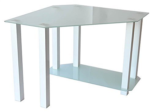 RTA Home and Office CT-013W Frosted Tempered Glass Corner Computer Desk, Gloss White