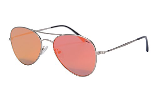 de de de Style Hommes Metal Lunettes Pilot Soleil SHINU Flash Lunettes Argent Eyeglasses Soleil Lunettes Style Flat UV400 rose Mirrored Lens 72002 wC65Pgq