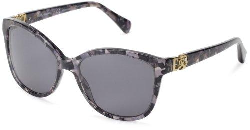 D&G Dolce & Gabbana DG4162P 265481 Cat Eye Sunglasses,Grey Marble/Gray Polarized Lens,56 mm
