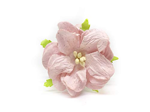 "Savvi Jewels 1.5"" Blush Pink Mulberry Paper Flowers with Wire Stems Pink Gardenia Flowers Mini Paper Flowers Wedding Decoration Craft Scrapbooking Flowers Bouquet 12 Pieces from Savvi Jewels"