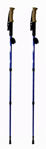 Hikker HP-5 Anti-shock Hiking Pole, 2-pack, Anti Shock Hiking / Walking / Trekking Trail Poles - 1 Pair With Compass & Thermometer (Anti Shock)