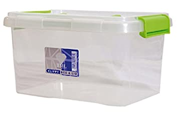 1 x 15lt 15 litre plastic storage box container with clip on lid and handle by