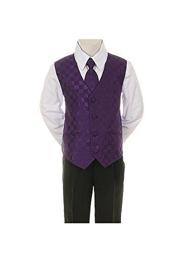 6-Piece Formal Boy's Black Suit Checkered Vest Tie 8 Colors (Infant-20) by Kids Dream