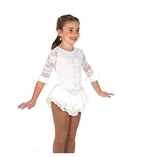 (Jerry Skating World Jerry's Ice Skating Dress - 187 Pearly Everlasting Dress (White, Size 6-8))