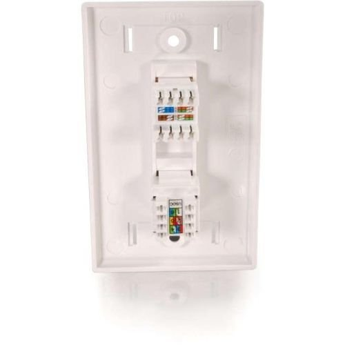 (C2g Cat5e Rj45 With Cat3 Rj12 Configured Wall Plate - White)