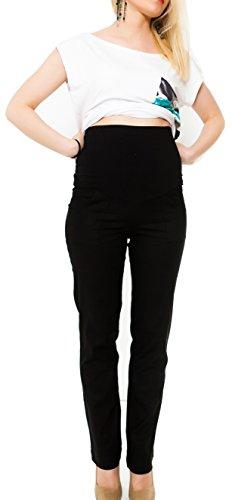 Mija - Leichte luftige Leinenhose für Schwangere mit Panel über Bauch / Umstandshose 9059 (XL / 42, Schwarz)