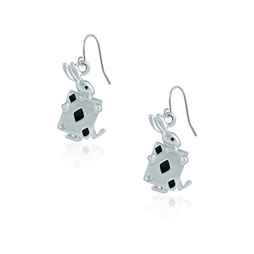 - fidaShop New Poker Rabbit Drop Earrings, Diamond Playing Card Silver Plated Charm Fashion Jewelry Birthday Gift, Lightweight for Women, Teens, Girls