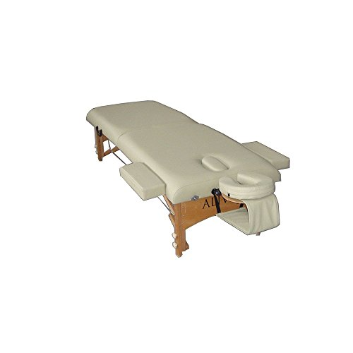 """ALIVEe Socritys II Portable Massage Table with Free Deluxe Massage Table accessories, 3"""" Foam and ALIVEe Cream Ultra Soft Leather Light Finish"""