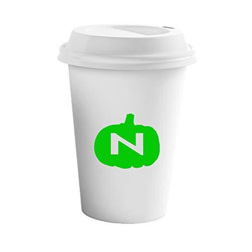 Style In Print Green N Halloween Pumpkins Monogram Letter N Ceramic Coffee Tumbler Travel -