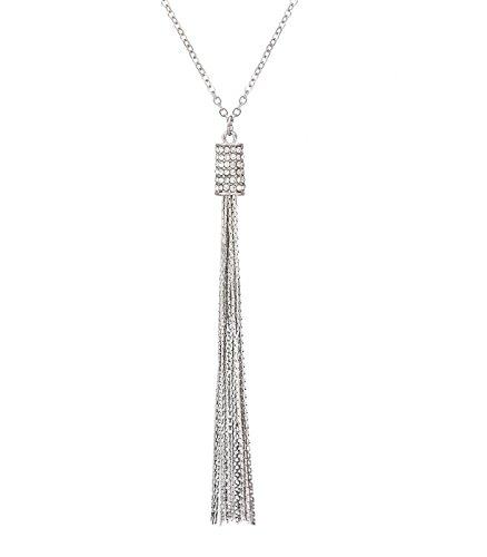 Pendant Rhinestone (MOLOCH Long Tassel Pendant Necklace Rhinestone Bar Pendant Necklace Cute Y Necklace Set Chic Jewelry for Woman (Silver))
