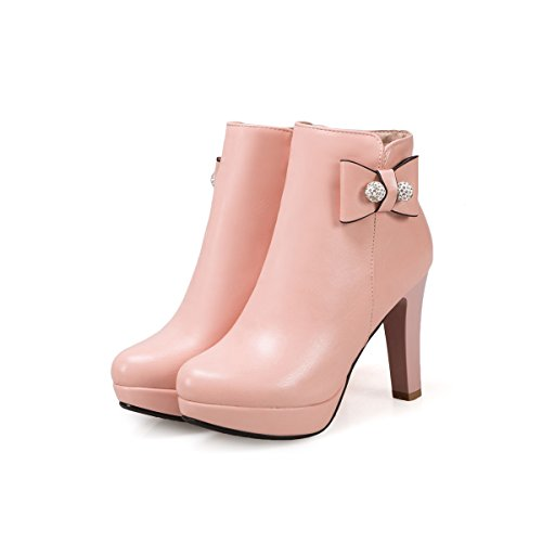 DecoStain Women's Sweet Thick High Heel Ankle High Bootie Pink aJxMlR