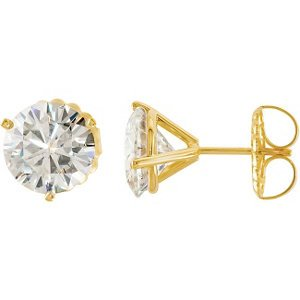 5 Cttw Charles and Clovard 14k Yellow Gold Moissanite Solitaire Stud Earrings by The Men's Jewelry Store