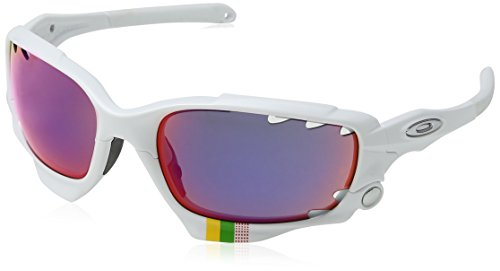 Oakley Unisex TdF Racing Jacket Sunglasses, White/+Red Iridium & Black, One Size (Fast Jacket Positive Red compare prices)