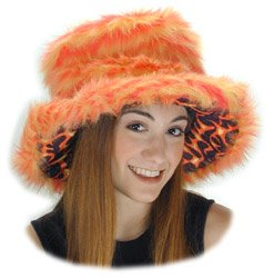 Sugar Daddy Orange Fur Flame Costume Hat -