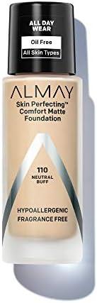 Almay Skin Perfecting Comfort Matte Foundation, Hypoallergenic, Cruelty Free, Fragrance Free, Dermatologist Te