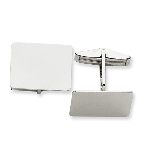 14K White Gold Rectangular Cuff Links by CoutureJewelers
