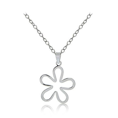 (Sterling Silver Womens Groovy 70s Flower Pendant Polished Necklace)