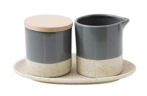 Bloomingville Creative Co-Op 3 Grey & Cream Stoneware Creamer, Sugar Bowl & Tray 24-Serving Pieces, Grey ()