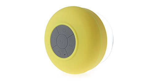 Bluetooth Shower Speaker, Water Resistant, Hands Free Portable Speakerphone with Built-in Mic, 6 Hours of Playtime, Bluetooth 3.0, Control Buttons and Dedicated Suction Cup for Showers, Bathroom, Pool, Boat, Car, Beach, and Outdoor Use (Yellow)