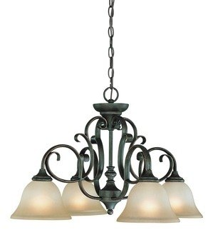 Mocha Bronze Finish Chandeliers - Craftmade Lighting 24224-MB Barret Place - Four Down Light Chandelier, Mocha Bronze Finish with Etched Painted Glass