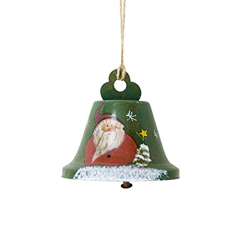 Claus/Snowman Pattern Painted Iron Bell Christmas Tree Hanging Pendant Ornament Window Door Decoration Green ()