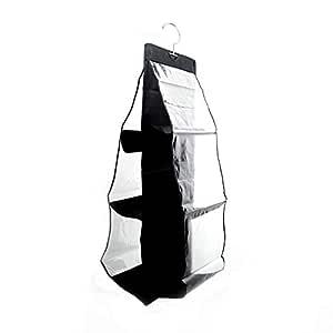 Hanging Handbag Organizer Storage Holder Bag Wardrobe Closet for Purse Clutch with 6 Large Clear Pockets Black