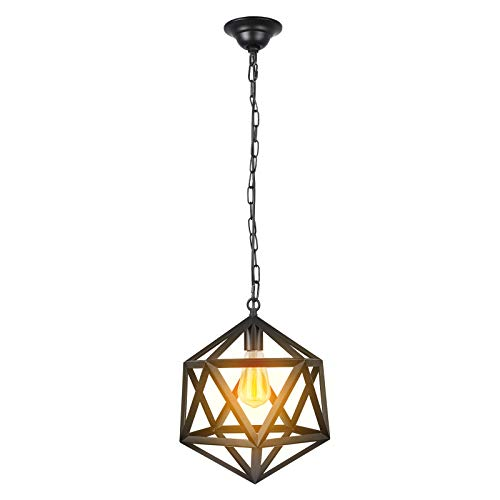 Paragon Home Geometric Pendant Light Fixture for Kitchen and Dining Room, Polygon Industrial Lighting Fixture, Foyer Chandelier, E26 Base, Black (Bulb Not Included)