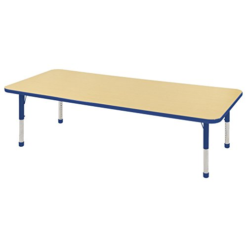 ECR4Kids T-Mold 24'' x 72'' Rectangular Activity School Table, Chunky Legs, Adjustable Height 15-24 inch (Maple/Blue) by ECR4Kids