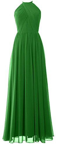 MACLoth Women Halter Long Bridesmaid Dress Chiffon Formal Gown with Open Back Verde