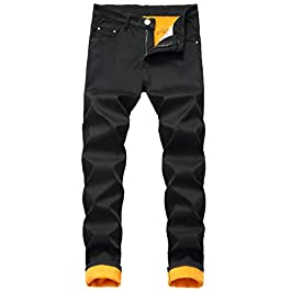 Men's Fleece Lined Stretch Skinny Jeans Winter Thicken Warm Denim Pants