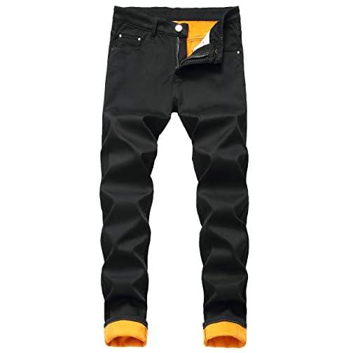 Men's Fleece Lined Stretch Skinny Jeans Winter Thicken Warm Denim Pants 2